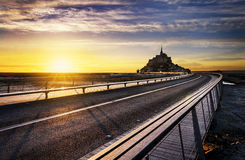 Mont Saint Michel at sunset, France Stock Photography