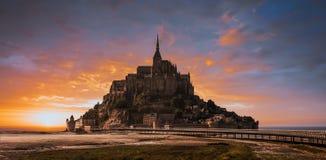 Mont Saint Michel tidal island. Sunset, Normandy, France Stock Photography
