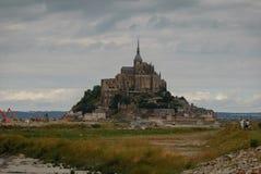 Mont Saint Michel utan aktuellt tillträde france fotografering för bildbyråer