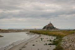 Mont Saint Michel utan aktuellt tillträde france arkivbilder