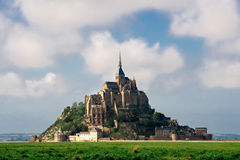 Mont saint-Michel view from meadow Stock Photos