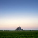 Mont saint-Michel view from meadow Royalty Free Stock Photography