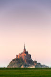 Mont saint-Michel view from meadow Stock Image