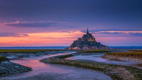 Mont Saint-Michel view in the sunset light. Normandy, northern F Stock Photo