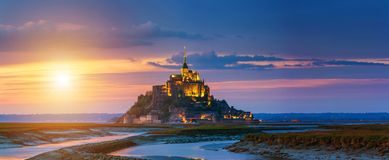 Mont Saint-Michel view in the sunset light. Normandy, northern F. Rance Royalty Free Stock Photography