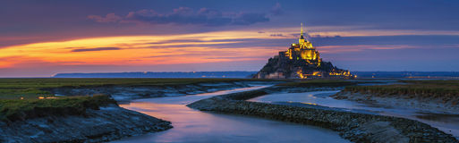 Mont Saint-Michel view in the sunset light. Normandy, northern F Stock Photography