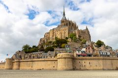 The Mont Saint Michel village and abbey royalty free stock photos