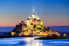 Mont Saint Michele at dusk Stock Photography