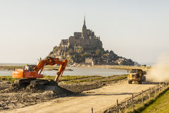 Mont Saint Michele - France, Normandy. Renovation of route to UNESCO beauty place - Mont Saint Michele in Normandy, France royalty free stock photo