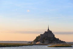 Mont Saint Michele of sunset at dusk Royalty Free Stock Images