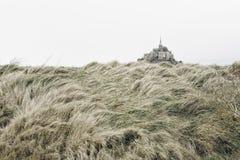 Mont Saint Michele y una colina de la hierba Imágenes de archivo libres de regalías
