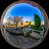Mont Sainte Odile little planet   spherical panorama Royalty Free Stock Photo