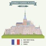 Mont Sanktt Michel france vektor illustrationer