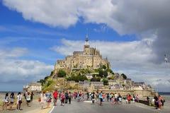 Mont Sanktt Michel. Frankrike. Arkivfoto