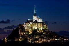 Mont-Santo-Miguel en la noche Fotografía de archivo libre de regalías