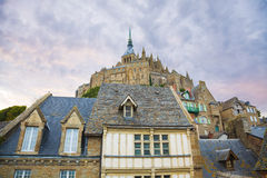Mont St. Michel abbey. Abbey and traditional houses of Mont St. Michel, France Stock Photo