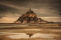 Mont St Michel Frankrike arkivbilder
