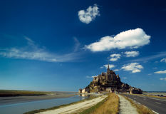Mont-St-Michel in front of a blue sky Royalty Free Stock Photo
