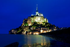 Mont St Michel in Normandy in Evening stock photography