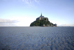 Mont St Michel from the north side. At sunset Stock Image