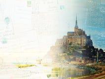 Mont St Michel på solnedgången, Frankrike vektor illustrationer