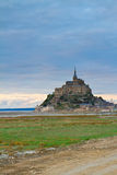 Mont St Michel at sunset , France. Mont St Michel city at sunset, Brittany,  France Royalty Free Stock Photos