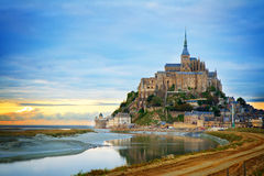 Mont St Michel at sunset , France Stock Photos