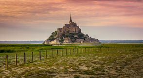 Mont St. Michel Sunset. Mont St. Michel in Normandy, France Stock Photography
