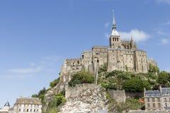 Mont St Michel von der Unterseite Stockbild