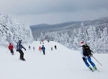 Mont-Tremblant滑雪胜地,魁北克,加拿大 免版税图库摄影