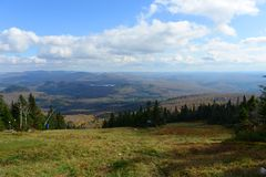 Mont Tremblant with Fall Foliage, Quebec, Canada Stock Photo