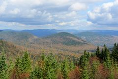 Mont Tremblant with Fall Foliage, Quebec, Canada. Mont Tremblant fall foliage, from top of Mont Tremblant, Quebec, Canada Royalty Free Stock Photography