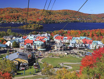 Mont Tremblant funicular and lake in autumn, Quebec Royalty Free Stock Images