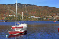 Mont Tremblant Lake with autumn colors, Quebec, Canada Royalty Free Stock Photos