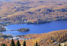 Mont Tremblant Lake and resort, aerial view Stock Images