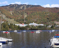 Mont Tremblant Lake and resort with boats on the foreground Stock Photo