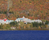 Mont Tremblant Lake and resort with boats on the foreground Royalty Free Stock Photo