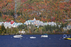 Mont Tremblant lake and village with autumn colors, Quebec Stock Photography