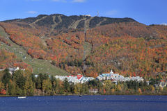 Mont Tremblant lake and village with autumn colors, Quebec Royalty Free Stock Images