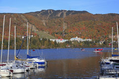 Mont Tremblant lake and village with autumn colors, Quebec Stock Images