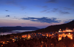 Mont Tremblant village at dusk. View of the resort village of Mont Tremblant at dusk Royalty Free Stock Photography