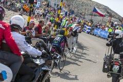 Mont Ventoux -环法自行车赛的Nairo金塔纳2013年 库存图片