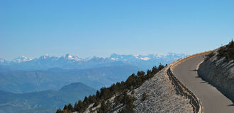 Mont Ventoux. Serpentine in the Mount Ventoux and the sight of the Alps Royalty Free Stock Photos
