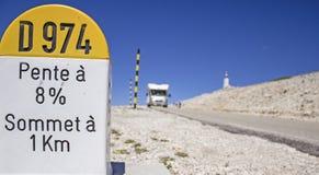 Mont Ventoux, marco miliário. França. Imagens de Stock Royalty Free