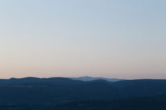 Mont Ventoux and other Hills seen from Roussillon at Sunset Stock Image