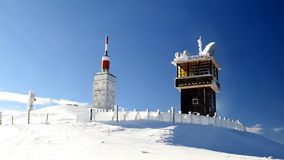 Mont Ventoux summit in winter. Mont Ventoux telecommunication buildings in winter Royalty Free Stock Images