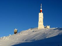 Mont Ventoux in winter. Mont Ventoux building in winter Royalty Free Stock Photos