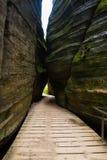 Montaña única Adrspasske de las rocas skaly en el parque nacional Adrspach, República Checa Imagenes de archivo