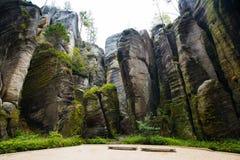 Montaña única Adrspasske de las rocas skaly en el parque nacional Adrspach, República Checa Fotografía de archivo libre de regalías