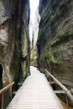 Montaña única Adrspasske de las rocas skaly en el parque nacional Adrspach, República Checa Foto de archivo libre de regalías